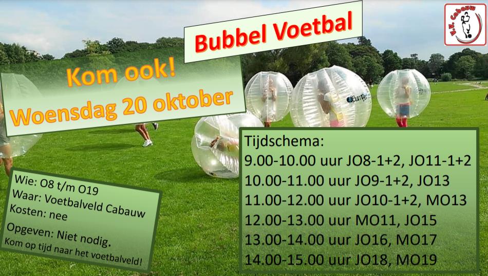 Bubbelvoetbal voor de jeugdteams!